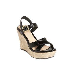 UGG Jackilyn Black Patent Leather Wedge Sandals